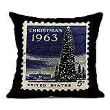 Kinhevao Cojín EE. UU. Alrededor de 1963 América Navidad estampilla Muestra la Casa Blanca y el árbol Nacional en Washington DC Cojín de Lino Almohada Decorativa para el hogar