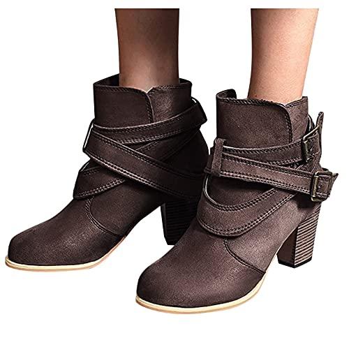 Rrunsv Damen Stiefeletten Chelsea Boots Stiefeletten Damen Sommer Westernstiefel für Damen, Klassische Cowgirl-Stiefel mit mittelhohem Absatz, Winterreitstiefel mit eckiger Spitze und Stickerei