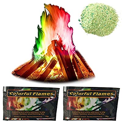 QoFina Fire colors for colored fire for fireplaces, 2x Magic Fire salt packets for colored fire in z. B. fire bowl campfire swedish fire by QoFina