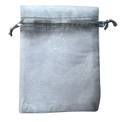 ATCG 100pcs 3x4 Inches Drawstring Organza Pouches Wedding Party Favor Gift Candy Bags (SILVER)