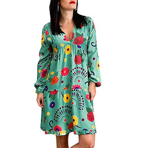 Lulupi Damen Shirtkleid Langarm Casual Lose Tunikakleid V-Ausschnitt Lange Ärmel Nachthemd Pyjama Kleid Große Größen