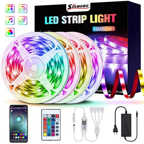 16M Bluetooth LED Streifen, SOLMORE RGB LED Strip 5050 LED Lichtband, steuerbar via App und Fernbedienung, Musikalische Funktion, LED Lichtleiste Lichtband für Haus, Party Deko 4x4M