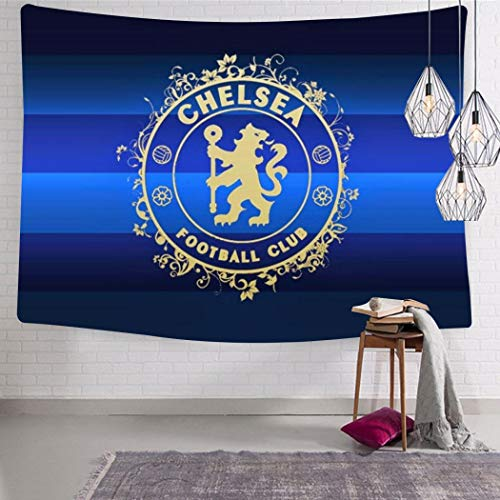 HSUIHA Wall Tapestry Chelsea Football Logo Wall Art Decoration Tapestry Wall Hanging for Living Room Bedroom Dorm Decor 51.2 x 59.1 Inch