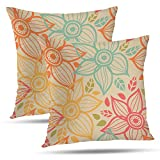 Batmerry Spring Pillows Decorative Floral Throw Pillow Covers 18x18 Inch Set of 2, Vintage Green Flower Print Decorative Double Sided Square Pillow Cases Pillowcase Sofa Cushion