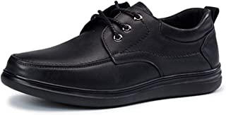 CHENDX Shoes Elegant Oxfords for Men Casual Flat Anti-Slip Solid Color Shoes Lace up Leisure Driving Round Toe Genuine Leather Stitch Rubber Sole (Color : Black, Size : 42 EU)