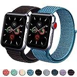 Vancle コンパチブル Apple Watch バンド 38mm 40mm 42mm 44mm ナイロンスポーツループバンド iWatch Series4/3/2/1に対応 (38mm/40mm, 2色セット ミックスブラック+ケープブルー)