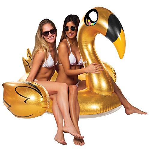 Poolcandy Giant Animal Pool Float, Golden Swan
