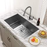 MENSARJOR 32'' x 19'' Single Bowl Kitchen Sink 16 Gauge Undermount Stainless Steel Kitchen Sink, Bar...