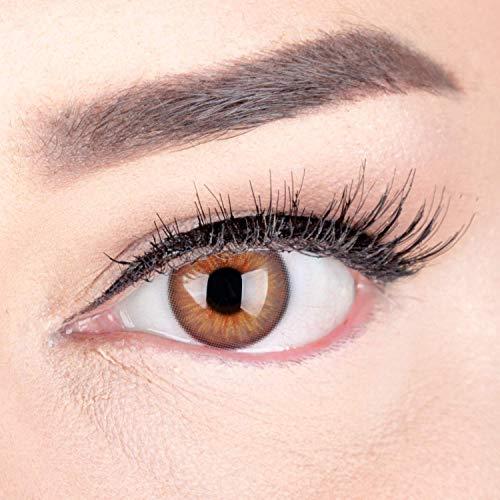 Sehr stark deckende und natürliche Braune Kontaktlinsen SILIKON COMFORT NEUHEIT farbig \'Elly Hazel\' + Behälter von GLAMLENS - 1 Paar (2 Stück) - DIA 14 mm - ohne Stärke 0.00