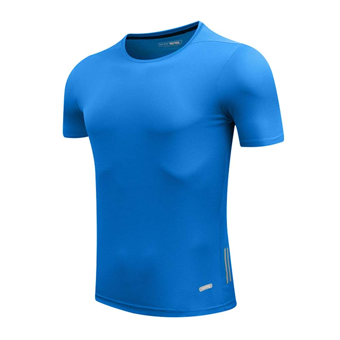 Rakkiss_Men T-Shirt Solid Silm Fit Tops Fast Drying Elastic Sports Tee Breathable Tight Summer Clothes