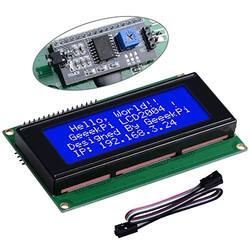 GeeekPi IIC/I2C 2004 20X4 Character LCD Module Display, Support I2C Protocol, LCD 2004 Module Shield For Arduino Uno Raspberry Pi