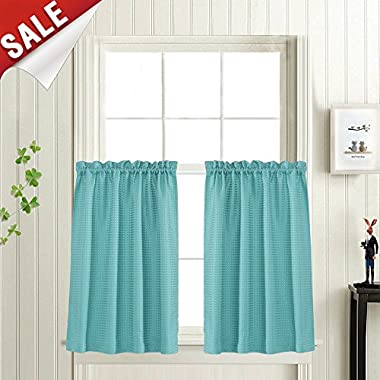 Waffle Woven Textured Short Curtains for Bathroom Water Repellent Window Covering for Kitchen (72  x 24 , Turquoise, Set of Two)