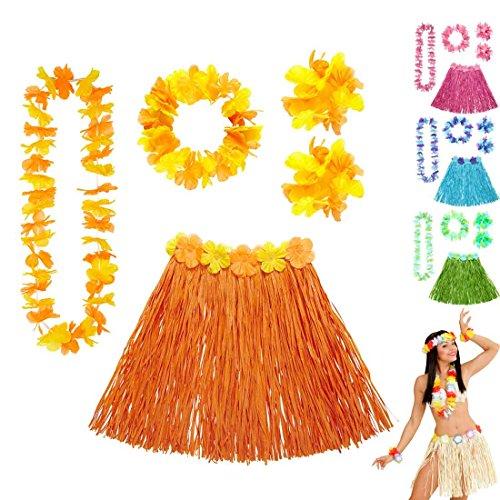 Amakando Juego de collar hawaiano con falda hawaiana de rafia, faldas de rafia, disfraz de limbo, fiesta en el mar del Sur, accesorio para fiesta en la playa