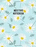 Meeting Notebook: Effective Formal Team Business Meeting Agenda Attendees, Sweet Daisy Flower Bright Blue Design