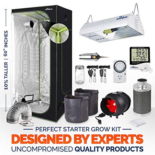 TheBudGrower 24''x24''x60'' Grow Tent + 4'' Inline Fan Filter Duct Combo + 17,500Lumans HPS Light + Hangers + Hygrometer + Shears + 24-Hour Timer + Cloth pots + Fermenting Jar + Grow Tent Complete Kit