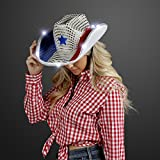 FlashingBlinkyLights Red White and Blue Sequin Light Up LED Cowboy Hat with White LED Brim