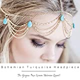 Barogirl Leaves Head Chain Jewelry Turquoise Trendy...