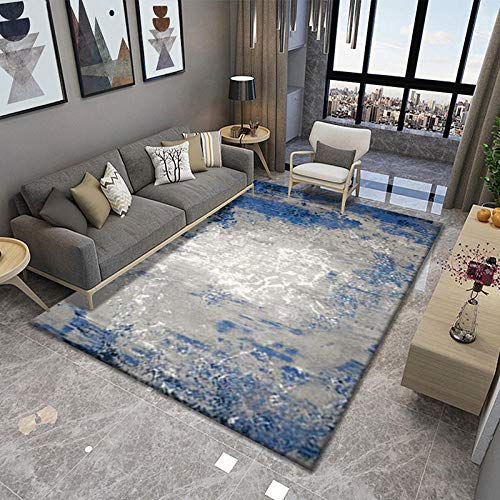 Alfombra alfombras Pelo Corto Salon Alfombra Suave con diseño de Tinta Azul...