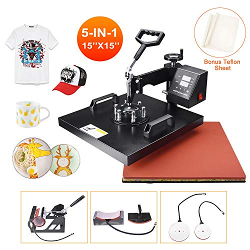 "Power Heat Press Machine 15"" X 15"" Professional Swing Away Heat Transfer 5 in 1 Digital Sublimation 360-Degree Rotation Multifunction Combo for T-Shirt Mugs Hat Plate Cap"