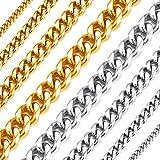 Richsteel Cadenas Dorado eslabon Cubano 3mm Necklace Men 55cm Largo Collar de Cadenas Acero Inoxidable Regalo Novio Familia