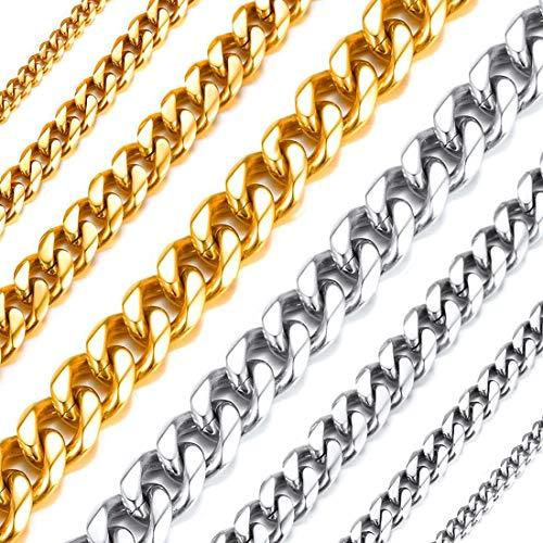 Richsteel Cadenas Dorado Cadena Gorda de Oro Cadena Cubana 6mm Necklace Men 55cm Largo Regalo Novio San Valentín Aniversario