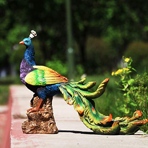 YONGMEI Garden Peacock Statue Ornaments, Outdoor Garden Figurine, Resin Ornament for Patio, Balcony, Yard, Lawn Decoration