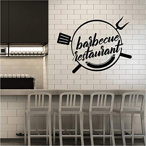 Vinyl Muursticker Barbecue Restaurant Grill Bar Kebab Worst Eetkamer interieur Decor Window Stickers Art Woorden muurschildering 42X54 cm