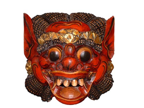 Unbekannt Holzmaske Barong II, 17cm Wandmaske rot Wandskulptur Barongmaske für die Wand Wanddeko