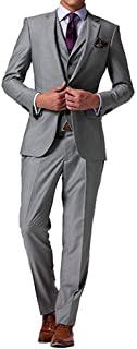 Men's 3 Pieces Grey Two Buttons Suits Formal Slim Fit Business Suits Wedding Suits Prom Tuxedos