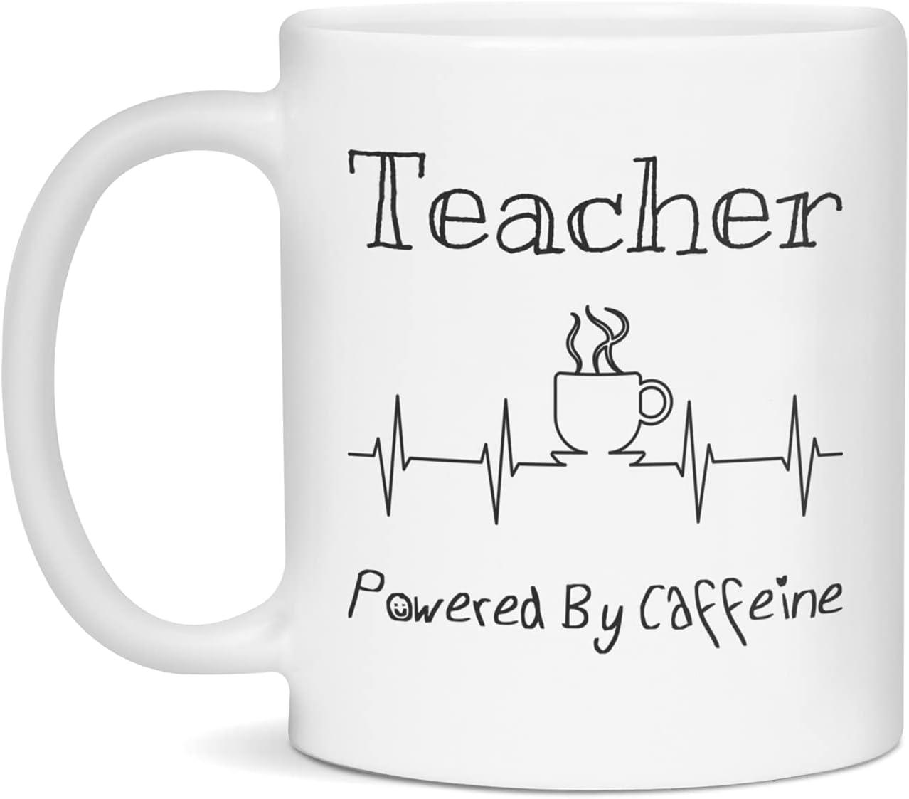 Teacher Powered By Caffeine Ranking TOP11 Funny Coffee Lover Mug ECG EKG Ranking TOP13 Gift
