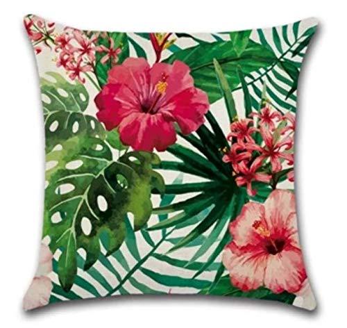YSHDNDML Rode hibiscus bloemen tropische botanische groene palm Zwitserse kaas plant bladeren retro stijl vierkant linnen kussen gooien kussensloop