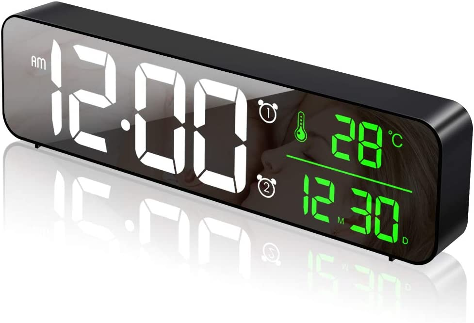 Plartree Reloj Despertador Digital LED, Reloj Digital Iluminado con Superficie de Espejo, Reloj Despertador Matutino con Temperatura, 6 Brillos Ajustables, 40 Música, Ideal para Dormitorio, Oficina