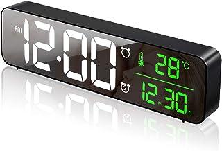 Plartree LED digital väckarklocka, USB uppladdningsbar reseväckarklocka, spegel väckarklocka med stor skärm och temperatu...