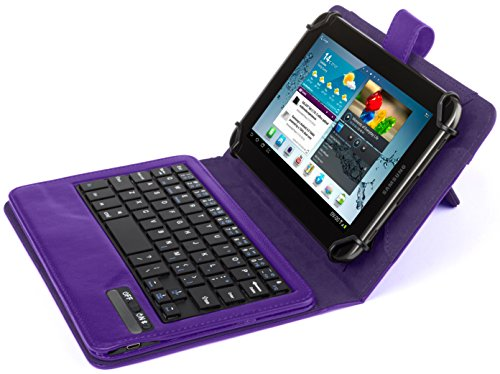 Kit Universal Wireless Bluetooth Keyboard and PU Leather Case Cover with Built In Stand for 7-8 inch Tablets - Purple