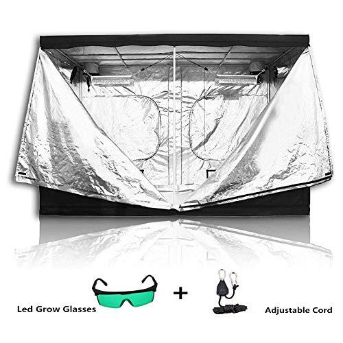 FJNS Premium 300 x 150 x 200cm(118 x 59 x 78.7in) 600D Mylar Indoor Propagation Grow Tent Box Hydroponics Dark Room With Plant lamp defensive glasses angd Nylon Lanyard
