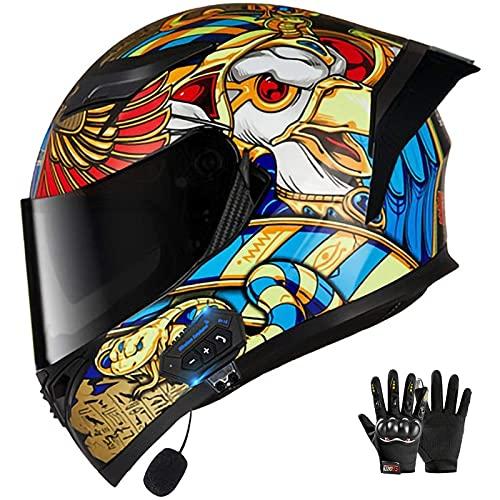 Lmoto-helmet Bluetooth Casco Moto Integral, Casco de Moto Scooter para Mujer Hombre Adultos con Anti Niebla Doble Visera, Casco Integrado ECE Homologado con 500mA Auriculares Bluetooth