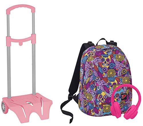 Seven Zaino The Double + Easy Trolley - Skull Girl - Azzurro Rosa - Cuffie - 2 Zaini in 1 Reversibile