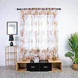 vijTIAN Cortina transparente de tul para ventana con diseño de árboles, tela lisa, suave y cómoda, apta para el hogar (café)