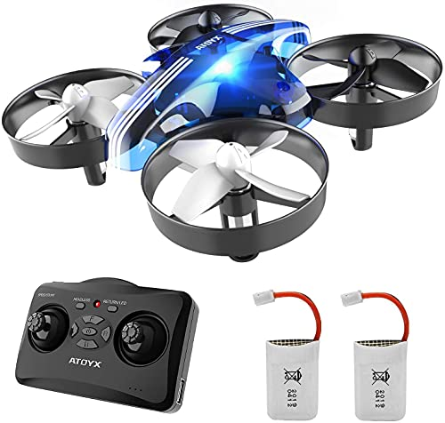 ATOYX Mini Drone for Kids and Beginners, Indoor Portable Hand Operated/ RC Nano Helicopter Quadcopter with Auto Hovering, Headless Mode, Extra Batteries and Remote Control for Boys and Girls -Blue