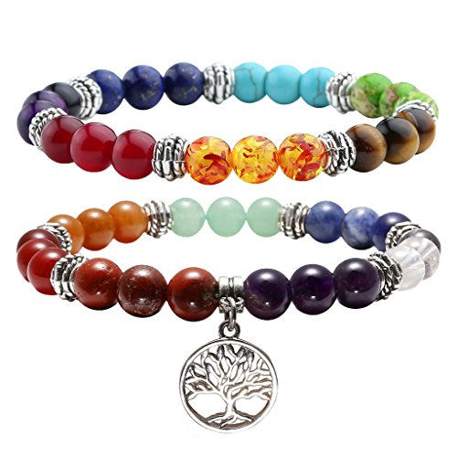 Jovivi 7 Chakras Yoga Meditation Healing Balancing Round Stone Beads Gemstone Chakra Bracelets Tree of Life Lucky Charm for Women Men,Valentines Couples Friendship Gifts