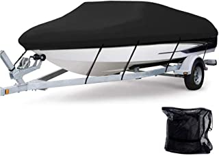 Anglink Waterproof Boat Cover, Heavy Duty 600D Polyester Oxford Professional Bass Runabout Boat Cover, Durable and Tear Pr...
