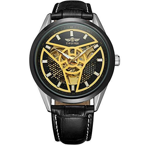 RONSHIN Polshorloges, Winner A293 Man Hollowout Lederen Band Automatisch Horloge voor Bedrijven