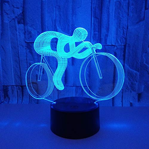 BFMBCHDJ Ride Bike 3D Night Light LED 7 Cambio de color 3D Lámpara visual LED AA Baterías Mesa USB Lampara Lampe Para niños Juguetes de regalo
