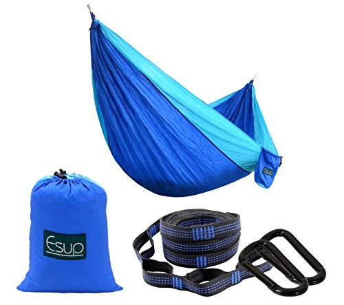 "Esup Double Camping Hammock - Lightweight Nylon Portable Hammock, Best Parachute Hammock for Backpacking, Camping, Travel, Beach, Yard. 118""(L) x 78""(W) with Long Straps"