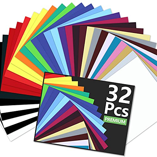 CAREGY HTV Heat Transfer Vinyl Bundle: 32 Pack Assorted Colors 12'x10' Sheets, Iron On Vinyl for T-Shirt