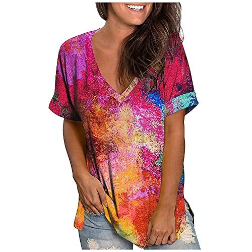 Camiseta de Mujer Camiseta de Manga Corta Camiseta de Color sólido con Cuello en V Dobladillo Casual Top de Verano Ropa básica Camiseta de teñido Anudado Escote en V Verano con Estampado de Bloques