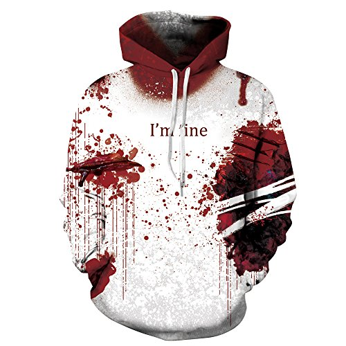 I'm FINE 3D Graphic Hoodie Pullover Street Snap Lover's Sweatshirts with Blood Scar (L/XL) White/Red