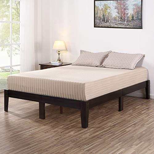 Olee Sleep Deluxe Wood Platform Bed Frame, Queen, Dark Brown