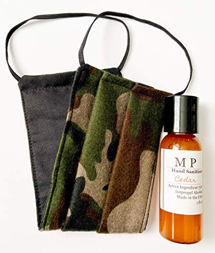 Men's Guy Cedar Hand Sanitizer Scented Gift Set Camouflage Camo Cotton Double Sided Reversible Washable Dust Face Mask - Adult Male Size