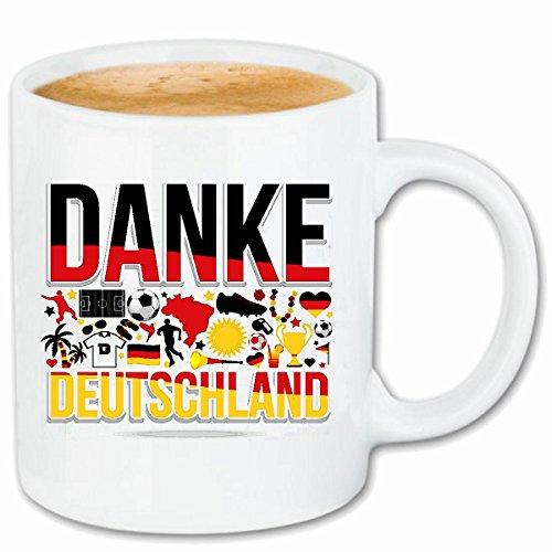 Reifen-Markt Koffie Mok Thee Beker DANK Duitsland 2018 WK Voetbal Voetbal DUITSLAND WORLD CHAMPION RUSSIA RUSLAND SEMI FINALS QUARTER-FINALS Keramiek 330 ml in wit